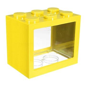 Merssavo - 1 mini pecera amarilla, luz LED superbrillante, área de ...