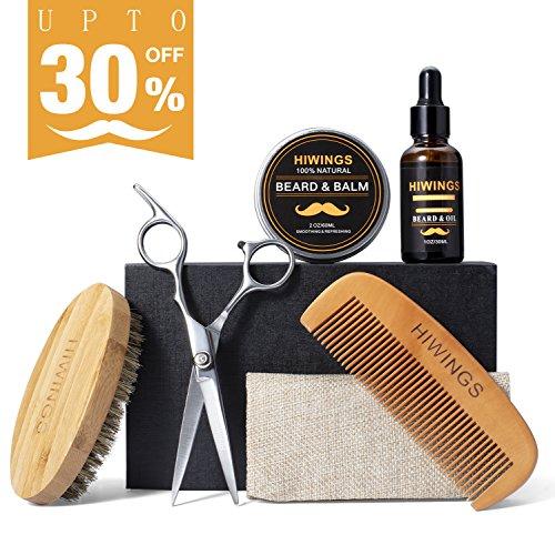 Beard Grooming & Trimming Kit for Men Care,Hiwings Beard Oil Conditioner,Wood Beard Comb, Beard Brush,Beard Balm,Mustache Scissors Shaving Set for Styling Shaping & Growth