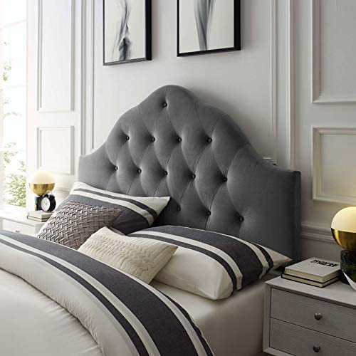 Modway Sovereign Queen Diamond Tufted Performance Velvet Headboard, Gray