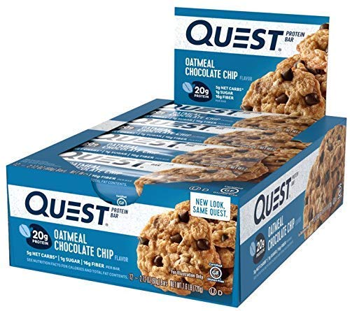 Quest Nutrition Oatmeal Chocolate Chip Protein Bar, High Protein, Low Carb, Gluten Free, Keto Friendly, 12 Count