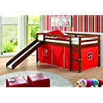DONCO Kids Low Loft Bed with Slide with Tent, Twin, Light Espresso/Red