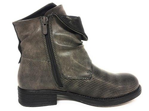 CAPRIUM Women's Biker Boots Grey yKZXF