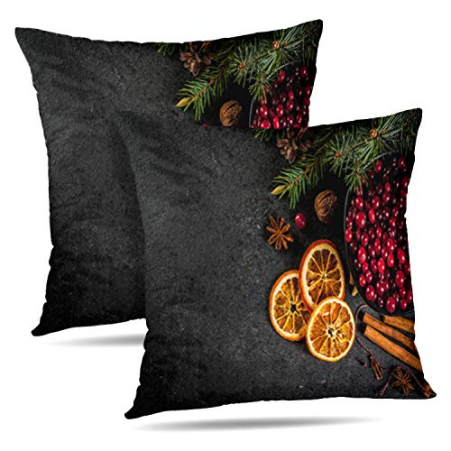 "Soopat Decorative Throw Pillow Cover Square Cushion 16""X16"" Set of 2, Christmas Winter Cookies Gingerbread Seasonal Drinks Spices Black Stone Pillowcase Home Decor Kitchen Garden Sofa from Soopat"