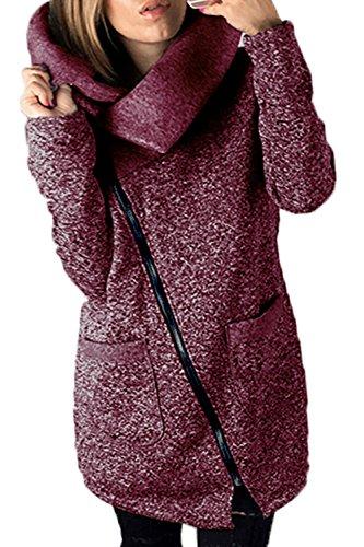 Red Casual Cappotto Giacche Lunghe Outwear Le Chiusa Autunno Moda Maniche q7wPv6