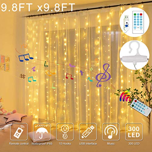 300 LED Curtain String Lights,USB Fairy Lights with 4 Music Control 8 Lighting Modes,IP65 Waterproof Lights for Wedding Home Bedroom Window Indoor Christmas Decorations,9.8x9.8 Ft Warm White