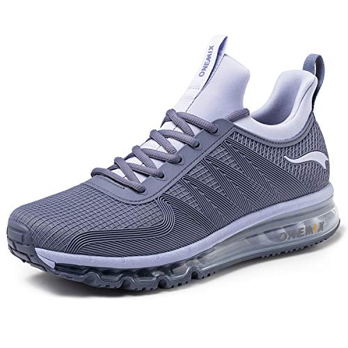 ONEMIX Air Cushion Running Shoes Breathable Lightweight Outdoor Men's Sneakers Silver/Grey