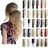 Ponytail Extension Wrap Around 18' 24' Synthetic Drawstring Hair Piece Clip in Hair extensions Dark Brown Mix Light Auburn