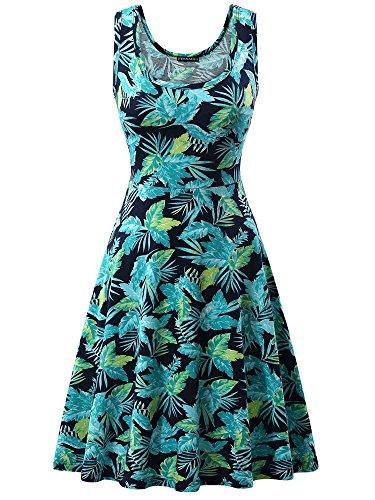 FENSACE Womens Sleeveless Summer Dress 1801611 Medium (Jersey Sundress)