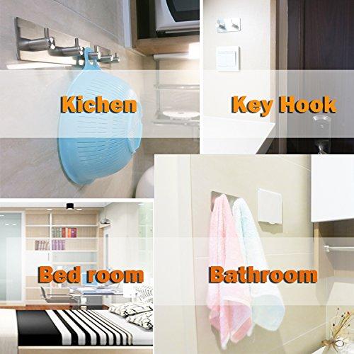 Key Hooks and Hanger, 3M Self Adhesive Stainless Steel Heavy Duty Coat Hanger Purse Hanger Robe Towel Hook 3-Hook for Bathroom, Living Room, Kitchen Wall Mounted (3 Hooks)