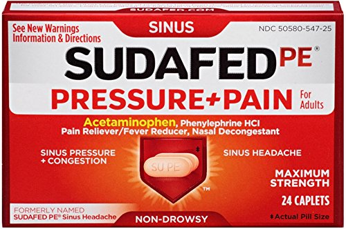 (SUDAFED PE Pressure + Pain Maximum Strength Caplets for Adults 24 ea (Pack of 4))