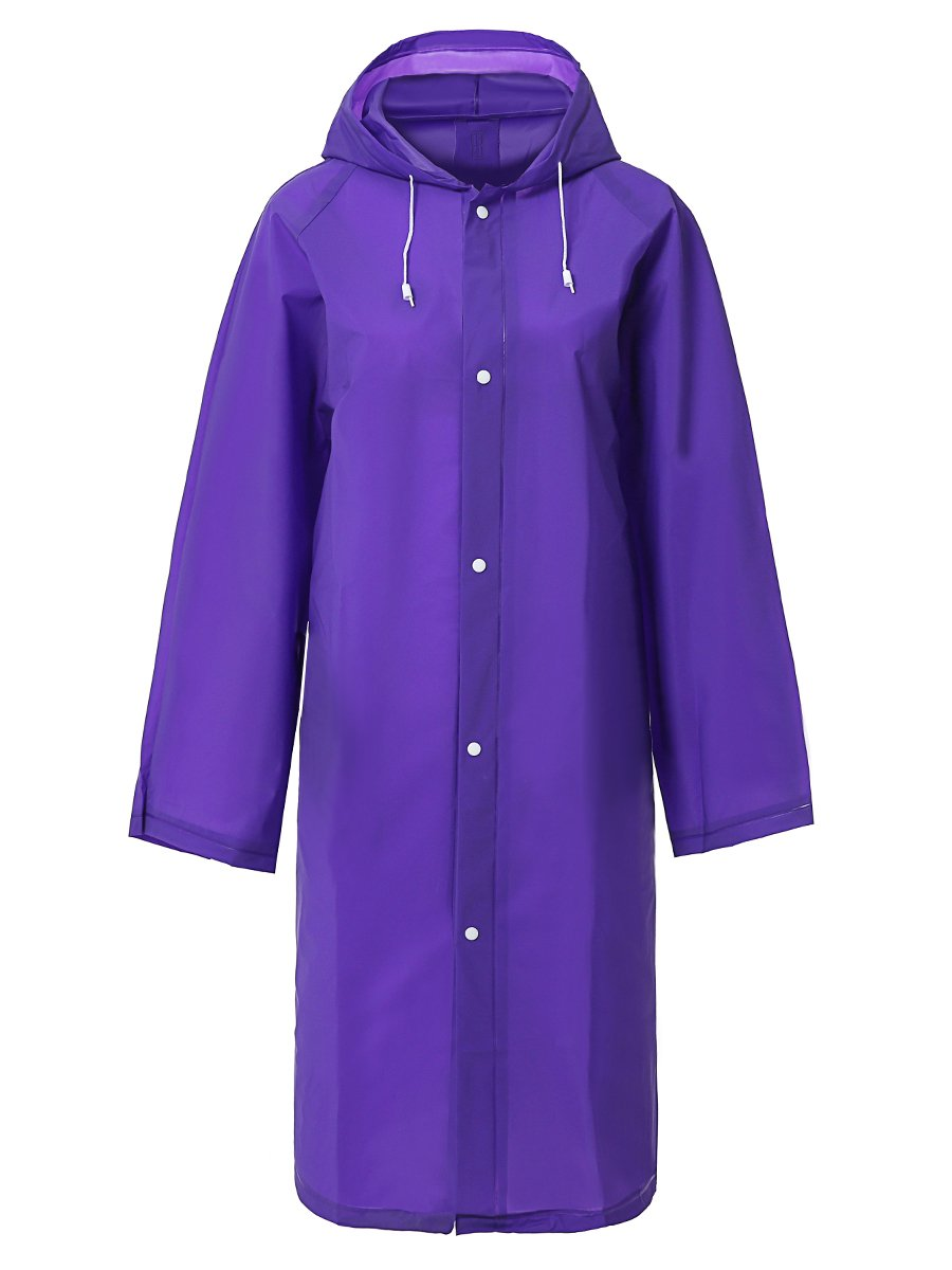 LINENLUX Waterproof Rain Poncho Coat with Bag Cover Purple Large