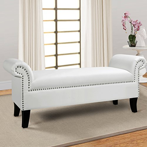 Jennifer Taylor Home Savannah Straight Line Rolled Arm Hand Finished Silver Nailhead Trim Upholstered Entry Bench, White - Finished Settee