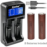 Kastar Intelligent LCD USB Charger & HG2 Battery (2 Pack), LG HG2 Quality Rechargeable 3000mAh (High Drain 20A) Flat Top for Electric Tools, Toys, LED Flashlights and Torch ect.