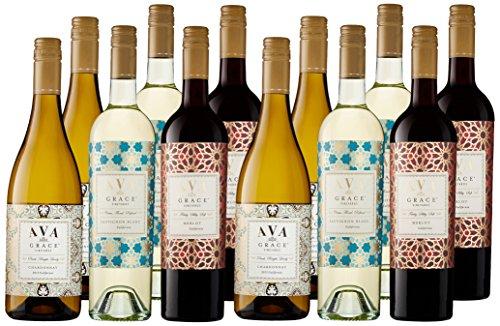 AVA Grace Vineyards California Red & White Wine Case Pack, 12 x 750 mL