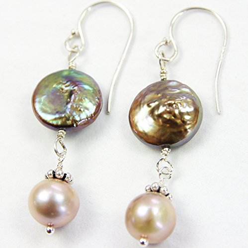 Brown Cultured Earring (Brown Pearl Earrings Freshwater Cultured Round Coin Bronze Green Taupe Dangle Sterling Silver Beaded)