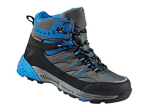 Damen Trekkingschuhe Wanderschuhe Atmungsaktiv, wasserdicht und windabweisend durch eingearbeitete TEX-Membran (Blau-Anthrazit-Schwarz, 38)