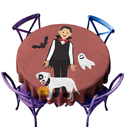 Stain Resistant Round Tablecloth,Halloween Dracula Costumes with White Dog Carrying a Pumpkin,Table Cover for Home Restaurant,60 INCH]()