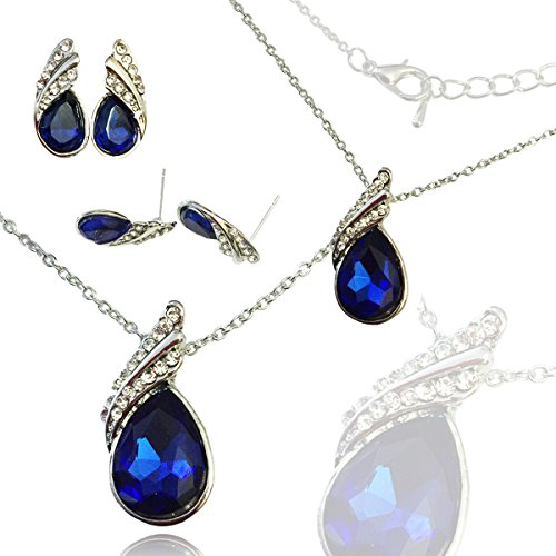 [AmaziPro8 Fashion Jewelry Sets - Fashion Jewelry Earrings + Pendant + Necklace + jewelry pouch - Crystal High-Grade fashion jewelry for women (Navy] (Heidi Klums Costume This Year)