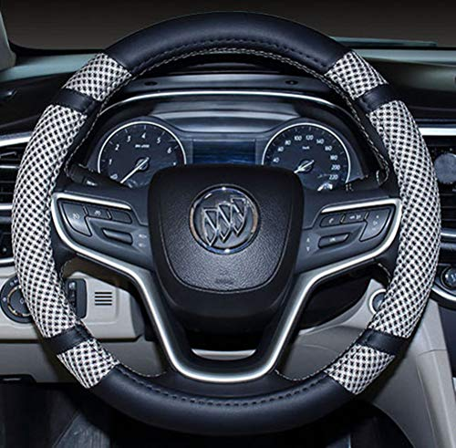 Steering Wheel Cover Microfiber Leather and Viscose, Breathable, Anti-Slip, Odorless, Warm in Winter and Cool in Summer, Universal 15 Inches (Gray)