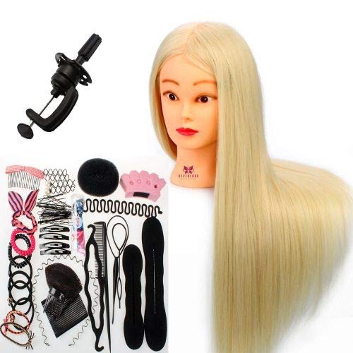 Neverland Beauty 26 Inch 30% Real Hair Hairdressing Cosmetology Training Head Blonde Mannequin Head Hairdresser Training Head w/Clamp + Hair Styling Braid Set Neverland Beauty & Health