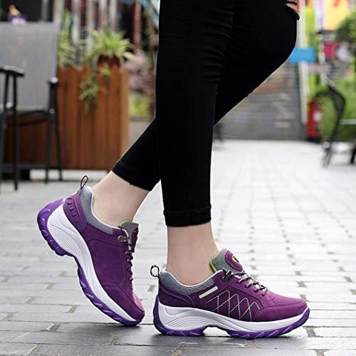 Libre Running Cordones Zapatos Primavera otoño Calzado para Mujer Púrpura Plataforma con Deportes Zapatillas Gym Aire y Verano QinMM EzHwOq