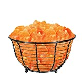 WBM 9-Inch Wide and 5-1/2-Inch Tall Round Basket Lamp filled with Himalayan Natural Crystal Salt Chuncks