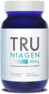 TRU NIAGEN Nicotinamide Riboside - Patented NAD Booster for Cellular Repair & Energy, 300mg Vegetarian Capsules, 300mg Per Serving, 90 Day Bottle
