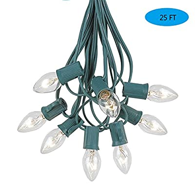 Goothy Christmas Lights(25FT) 5 Multi-Color Outdoor&Indoor Light for Holiday Party Wedding etc,25 Ceramic C7 Light(Plus 2 Extra Bulbs)