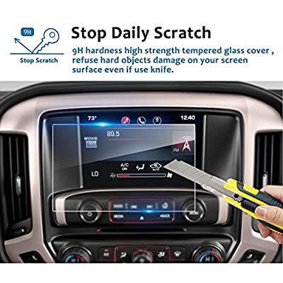 LFOTPP for 2016-2020 2020 GMC Sierra 1500 2500HD 3500HD 8 Inch IntelliLink Car Navigation Screen Protector, 9H Tempered Glass Center Touch Screen Protector Anti Scratch High Clarity (8-Inch)