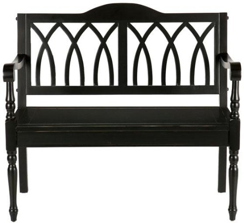 (Entryway Granbury Bench -  Ornate Wood Frame - Antique Black)