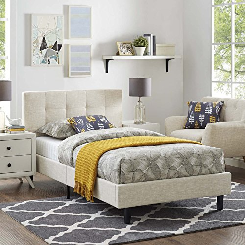 - Modway MOD-5422-BEI Linnea Upholstered Platform Bed with Wood Slat Support, Twin, Beige
