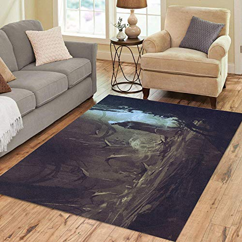 Semtomn Area Rug 3' X 5' Watercolor Fantasy Dark Cloak in Mysterious Forest Wizard Sorcerer Home Decor Collection Floor Rugs Carpet for Living Room Bedroom Dining Room
