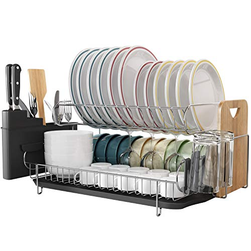 Kitchen Dish Rack, Boosiny 2 Tier 304 Stainless Steel Large Dish Drying Rack with Drainboard Set Utensil Holder, Cutting Board Holder and Dish Racks for Counter (Dish Rack Large)