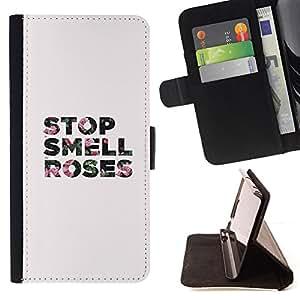 - Queen Pattern FOR HTC One M9 /La identificaci????n del cr????dito ranuras para tarjetas tir????n de la caja Cartera de cuero cubie - smell stop roses grey text minimalist -