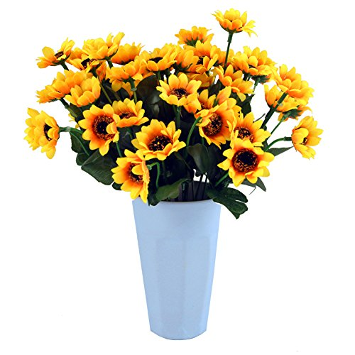 Sunflowers silk artificial flowers floral decor bouquet for Decorate with flowers amazon