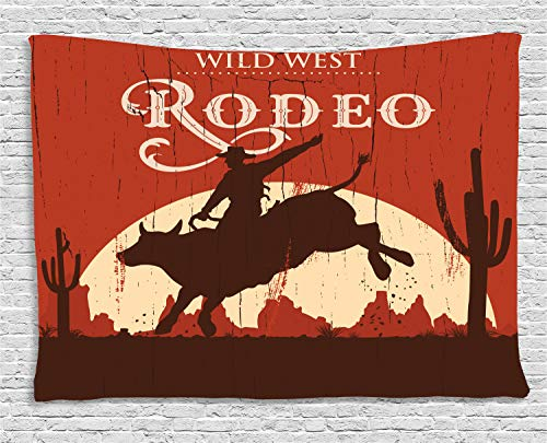 Ambesonne Vintage Tapestry, Rodeo Cowboy Riding Bull Wooden Old Sign Western Style Wilderness at Sunset Image, Wide Wall Hanging for Bedroom Living Room Dorm, 80
