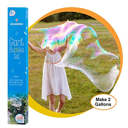 Atlasonix Giant Bubble Kit | Big Bubble Wand + Concentrated Bubble Mix for Making 2 Gallons of Natural Bubble Solution | Super Bubble Maker for Birthdays and Outdoor Family Fun (1 Big Wand + Mix)