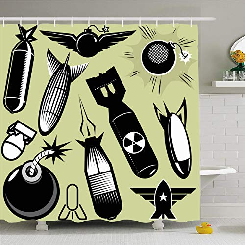 Ahawoso Shower Curtain 60x72 Inches Art Missile Bomb Torpedo Radioactive Line Fuse Star Black Design Waterproof Polyester Fabric Bathroom Curtains Set with Hooks