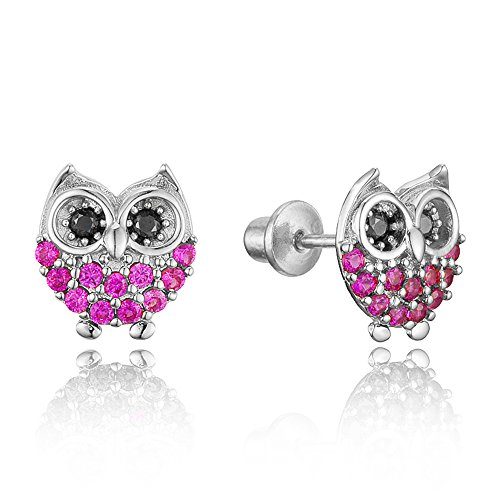 925 Sterling Silver Rhodium Plated Red Owl Cubic Zirconia Screwback Baby Girls Earrings