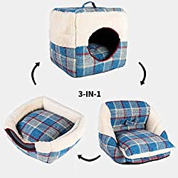 """Kaison Life Cat/Dog Bed House Cube&Sofa with Soft Plush Lining for Small Animals, Multi-Function, Use for Travel and Home, 13.5"""" x 13.5"""" x 13.5"""""""