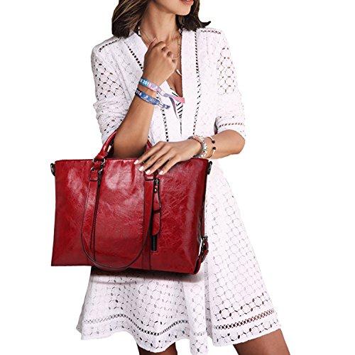 365-Shopping - Bolso de asas de Otra Piel para mujer rojo vino