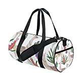 My Little Nest Sports Gym Bag Watercolor Llamas Lightweight Travel Duffel Bag for Women Men