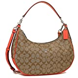 COACH SIGNATURE HARLEY EAST/WEST HOBO HANDBAGS SV/KHAKI BRIGHT ORANGE F58288