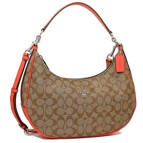 COACH SIGNATURE HARLEY EAST/WEST HOBO HANDBAGS SV/KHAKI BRIGHT ORANGE - Coach Usa Sale Outlet