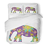 SanChic Duvet Cover Set Green Tribal Elephant Silhouette Cute Orange Thailand Baby Indian Thai Decorative Bedding Set 2 Pillow Shams King Size