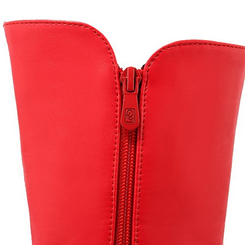 Allhqfashion Women's Solid PU High Heels Zipper Pointed Closed Toe Boots Red IjsHllf