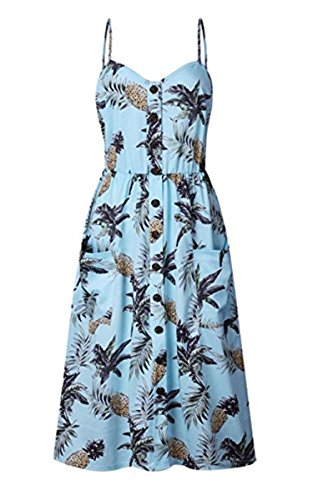 f3491bd324ab Angashion Women's Dresses-Summer Floral Bohemian Spaghetti Strap Button  Down Swing Midi Dress with Pockets