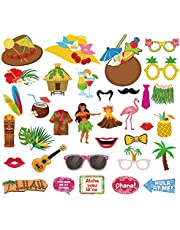 Xiangmall 34 Piezas Accesorios para Fotos Hawaiana Divertido Photo Booth Props Luau Decoraciones para Tropical Playa Piscina Fiestas