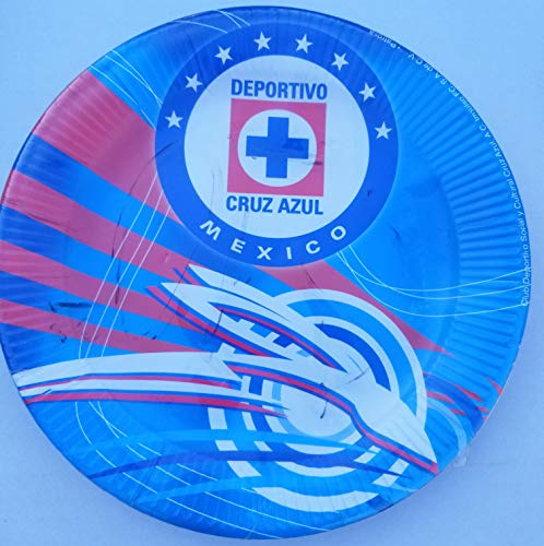 Cruz Azul Cementeros Soccer Party Plates Lunch Round Birthday Favors Partyware Supplies Fiesta Set of 8 PCS (World Cup Azul Cruz)