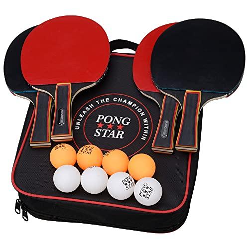 Juego de paletas de tenis de mesa premium 8 pelotas y bolso